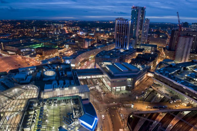 General view of the Bullring shopping centre and New Street Station from the top of The Rotunda in Birmingham.